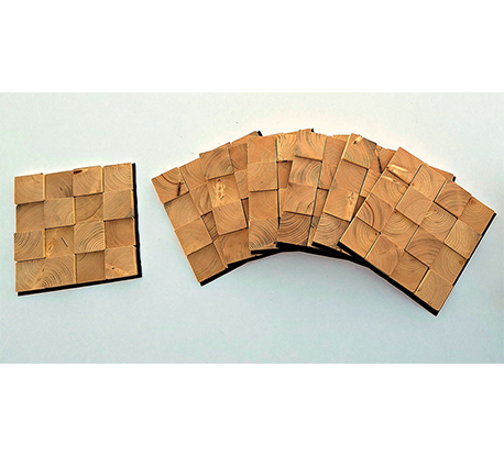 Square-3D 12 cm Natural Wood